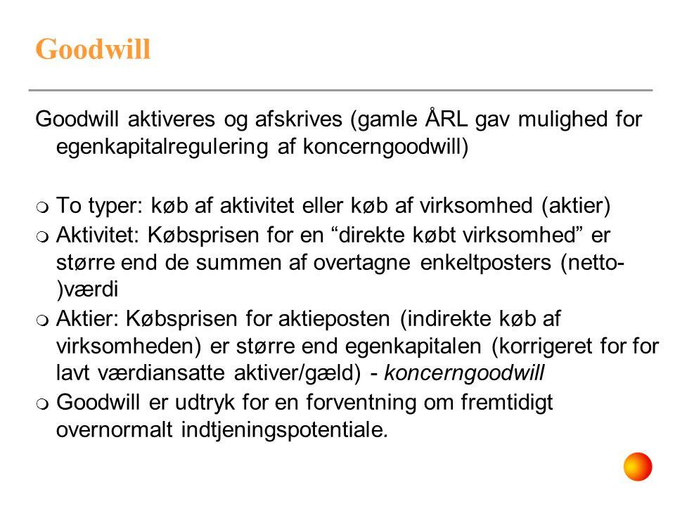 Goodwill Goodwill aktiveres og afskrives (gamle ÅRL gav mulighed for egenkapitalregulering af koncerngoodwill)  To typer: køb af aktivitet eller køb