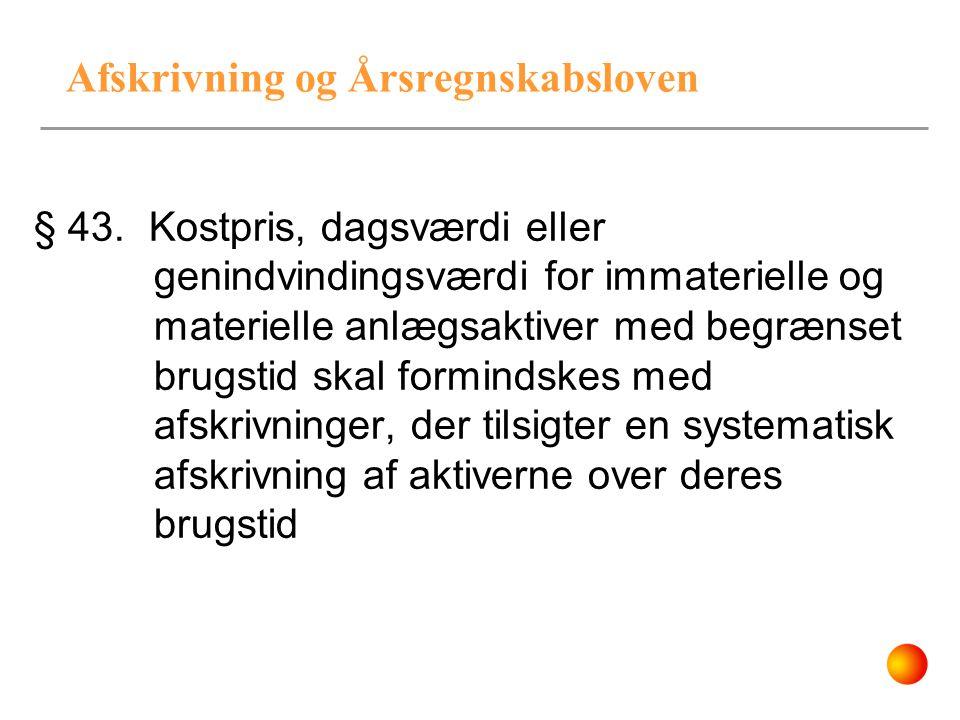 Afskrivning og Årsregnskabsloven § 43. Kostpris, dagsværdi eller genindvindingsværdi for immaterielle og materielle anlægsaktiver med begrænset brugst