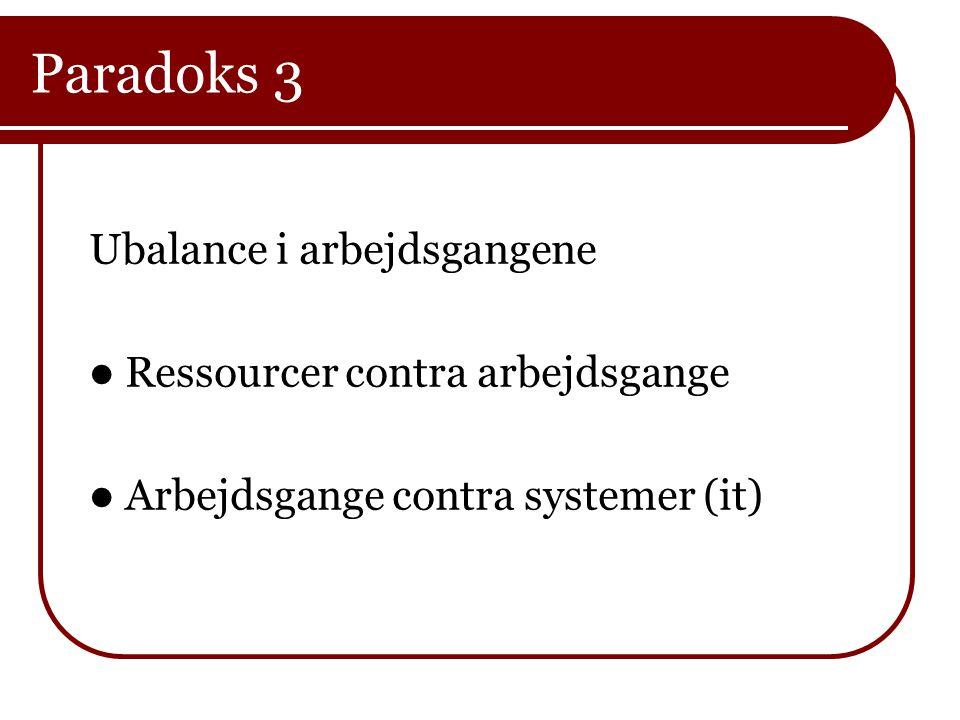 Paradoks 3 Ubalance i arbejdsgangene  Ressourcer contra arbejdsgange  Arbejdsgange contra systemer (it)