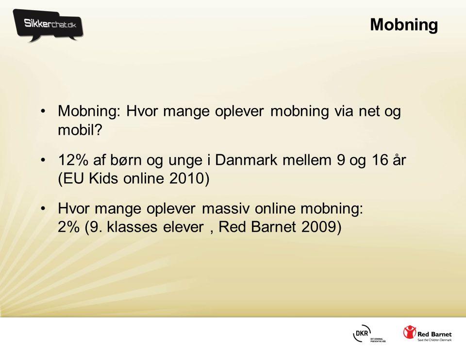 Mobning •Mobning: Hvor mange oplever mobning via net og mobil.