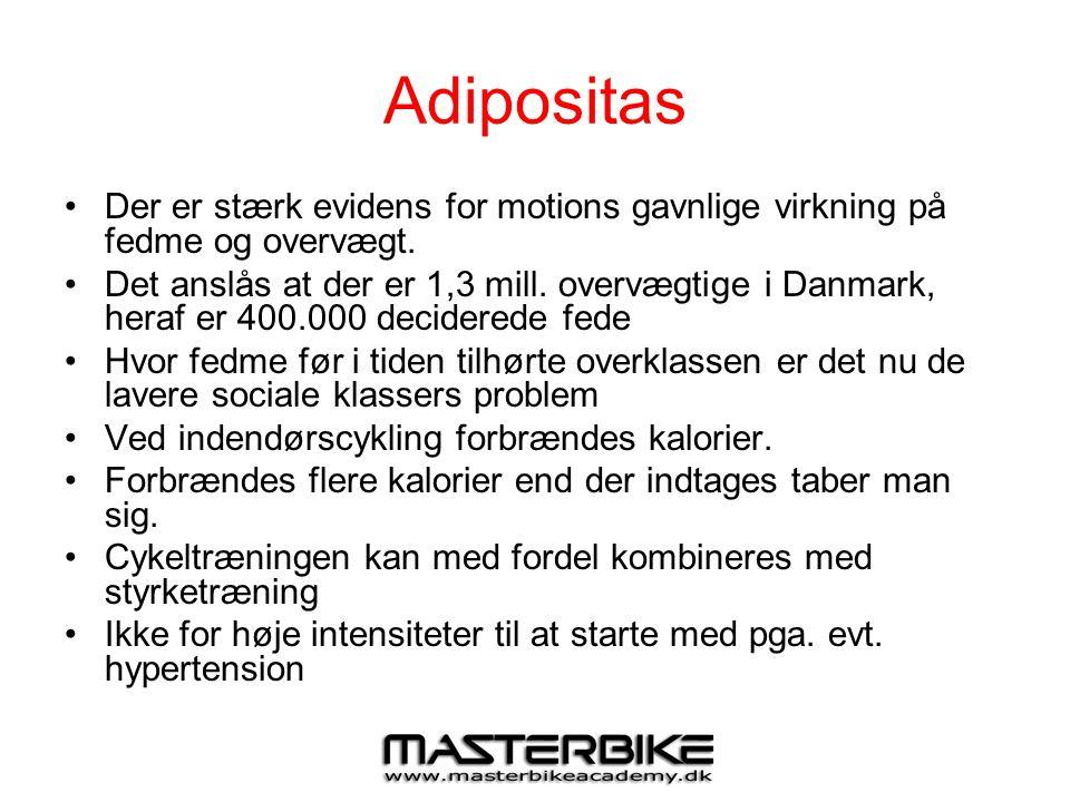 Adipositas •Der er stærk evidens for motions gavnlige virkning på fedme og overvægt. •Det anslås at der er 1,3 mill. overvægtige i Danmark, heraf er 4