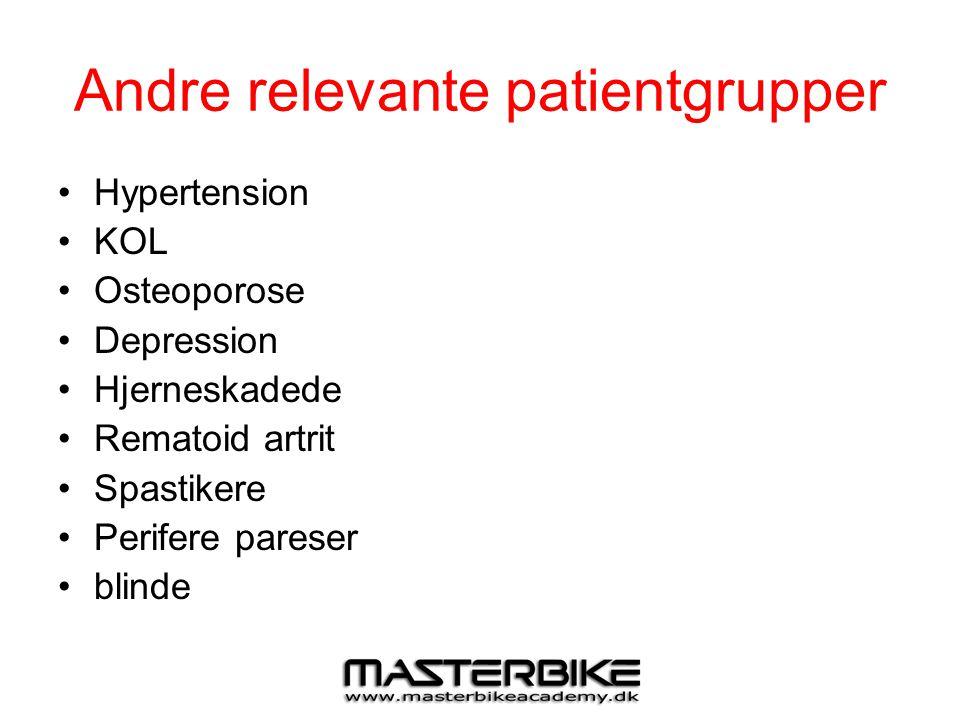 Andre relevante patientgrupper •Hypertension •KOL •Osteoporose •Depression •Hjerneskadede •Rematoid artrit •Spastikere •Perifere pareser •blinde