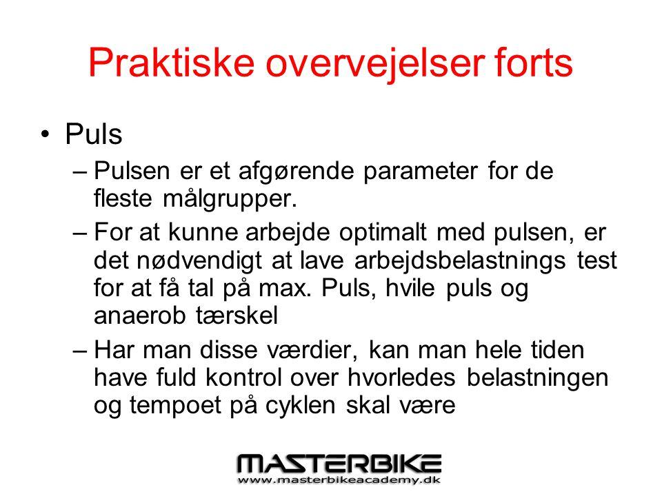 Praktiske overvejelser forts •Puls –Pulsen er et afgørende parameter for de fleste målgrupper. –For at kunne arbejde optimalt med pulsen, er det nødve