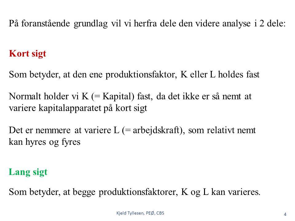 Kjeld Tyllesen, PEØ, CBS5 Produktionsmulighederne for forskellige kombinationer af L og K kan, jf.
