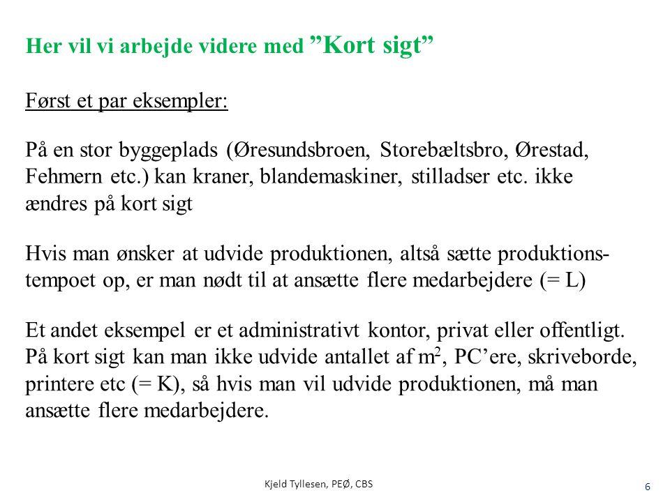 "Kjeld Tyllesen, PEØ, CBS 6 Her vil vi arbejde videre med ""Kort sigt"" På en stor byggeplads (Øresundsbroen, Storebæltsbro, Ørestad, Fehmern etc.) kan k"