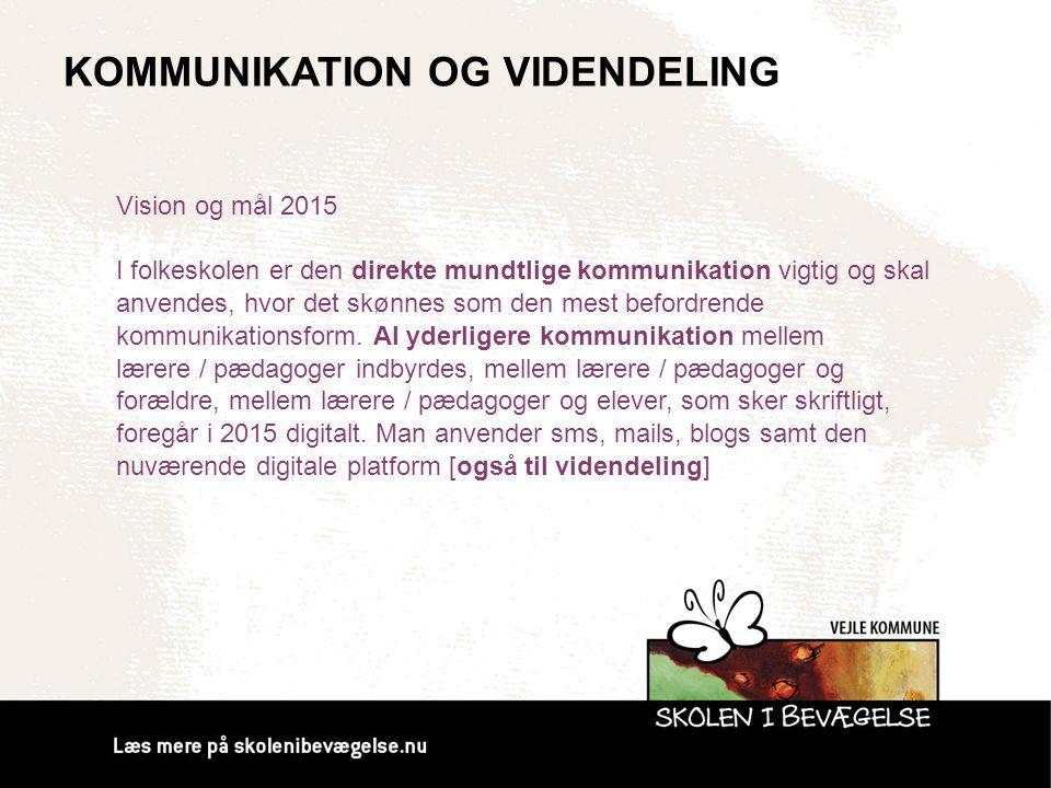 KOMMUNIKATION OG VIDENDELING Vision og mål 2015 I folkeskolen er den direkte mundtlige kommunikation vigtig og skal anvendes, hvor det skønnes som den