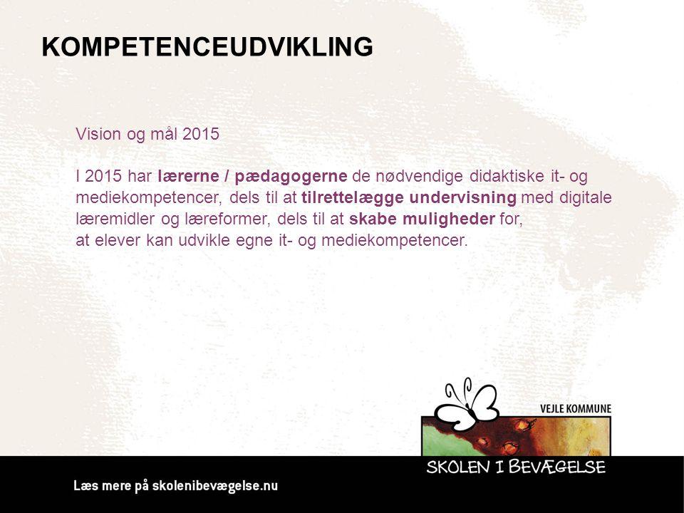 KOMPETENCEUDVIKLING Vision og mål 2015 I 2015 har lærerne / pædagogerne de nødvendige didaktiske it- og mediekompetencer, dels til at tilrettelægge un
