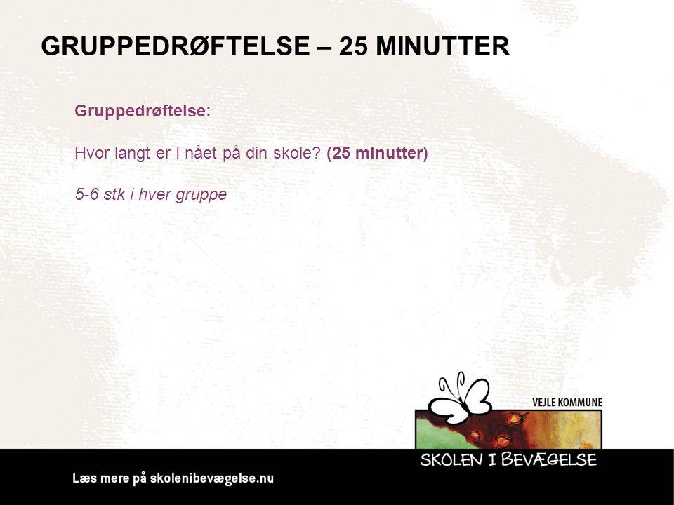 GRUPPEDRØFTELSE – 25 MINUTTER Gruppedrøftelse: Hvor langt er I nået på din skole? (25 minutter) 5-6 stk i hver gruppe