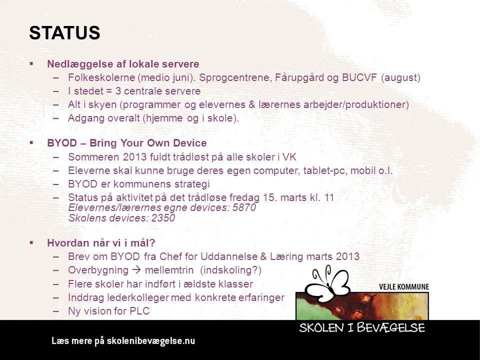 STATUS  Nedlæggelse af lokale servere –Folkeskolerne (medio juni). Sprogcentrene, Fårupgård og BUCVF (august) –I stedet = 3 centrale servere –Alt i s