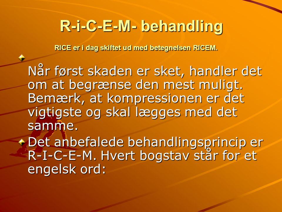 R - I R – rest.Ro - stop idrætsaktiviteten. Den skadede del af kroppen f.eks.