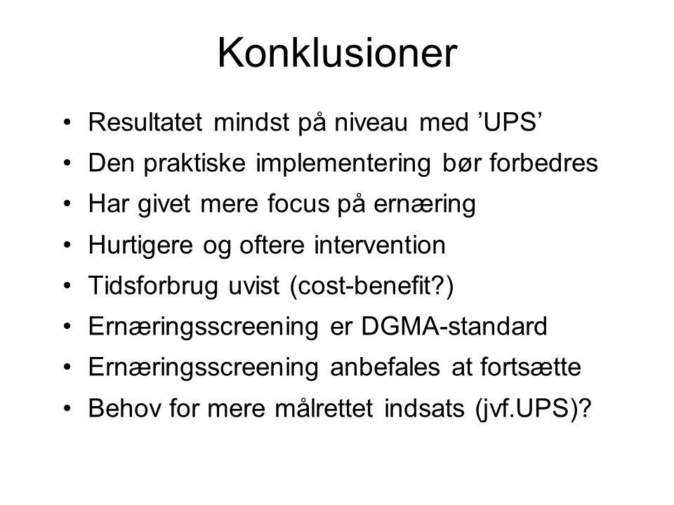 Konklusioner •Resultatet mindst på niveau med 'UPS' •Den praktiske implementering bør forbedres •Har givet mere focus på ernæring •Hurtigere og oftere