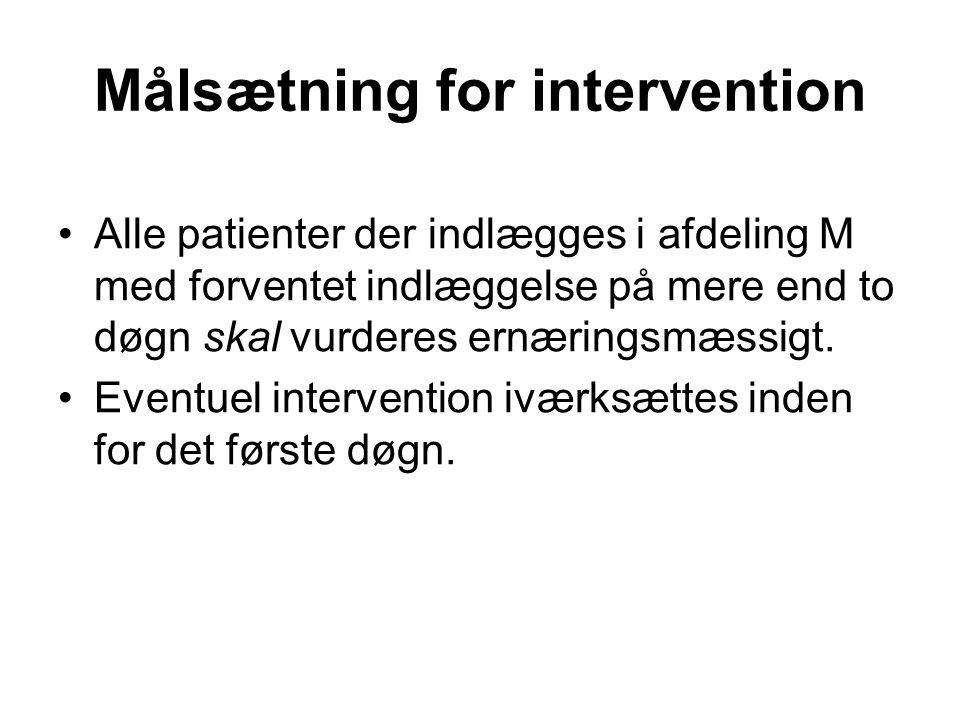 Målsætning for intervention •Alle patienter der indlægges i afdeling M med forventet indlæggelse på mere end to døgn skal vurderes ernæringsmæssigt. •