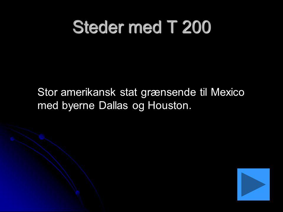 Steder med T 200 Stor amerikansk stat grænsende til Mexico med byerne Dallas og Houston.