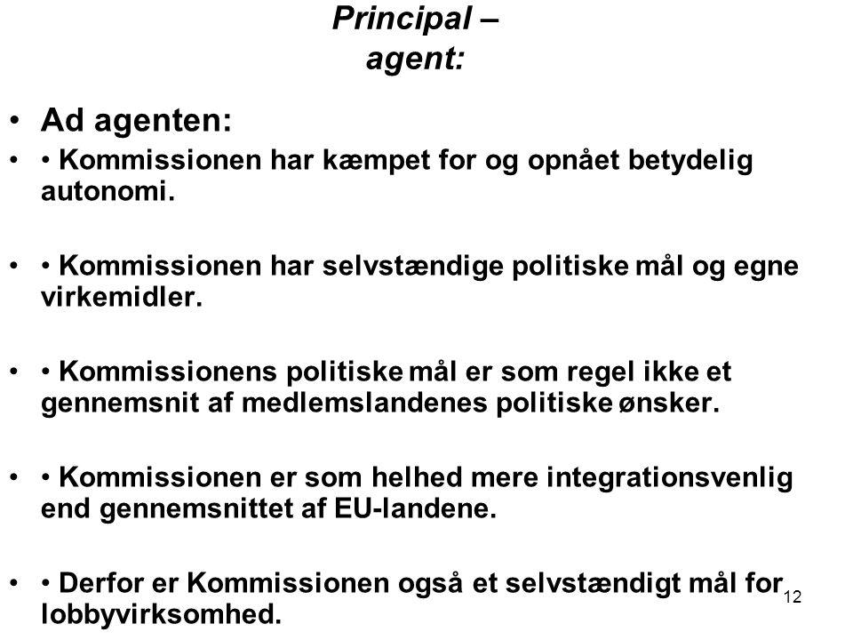 12 Principal – agent: •Ad agenten: •• Kommissionen har kæmpet for og opnået betydelig autonomi.