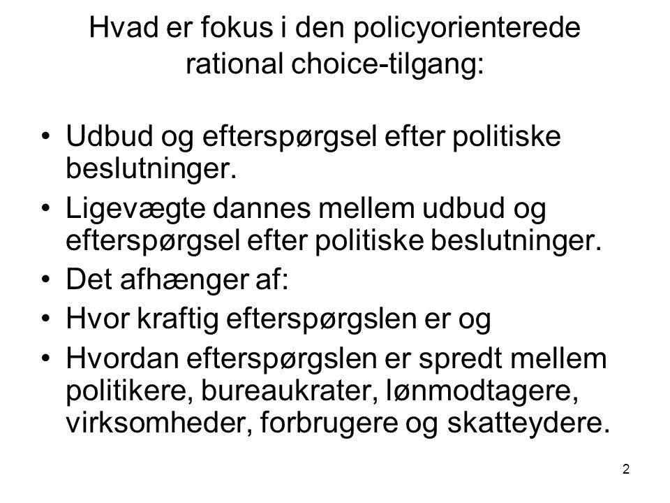 2 Hvad er fokus i den policyorienterede rational choice-tilgang: •Udbud og efterspørgsel efter politiske beslutninger.