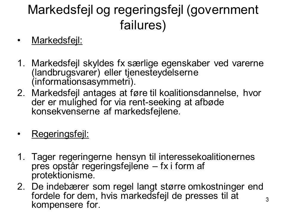 3 Markedsfejl og regeringsfejl (government failures) •Markedsfejl: 1.Markedsfejl skyldes fx særlige egenskaber ved varerne (landbrugsvarer) eller tjenesteydelserne (informationsasymmetri).