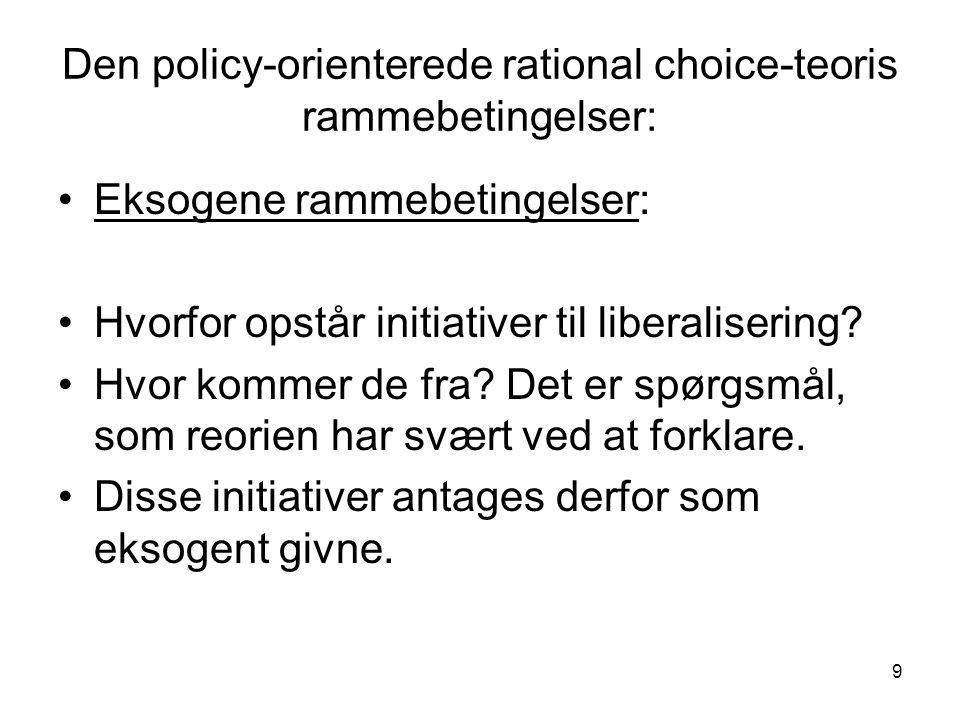 9 Den policy-orienterede rational choice-teoris rammebetingelser: •Eksogene rammebetingelser: •Hvorfor opstår initiativer til liberalisering.