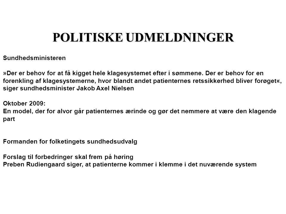 POLITISKE UDMELDNINGER Sundhedsministeren »Der er behov for at få kigget hele klagesystemet efter i sømmene.