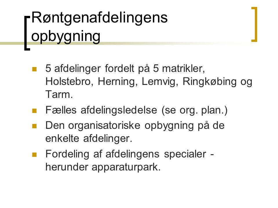 Røntgenafdelingens opbygning  5 afdelinger fordelt på 5 matrikler, Holstebro, Herning, Lemvig, Ringkøbing og Tarm.  Fælles afdelingsledelse (se org.