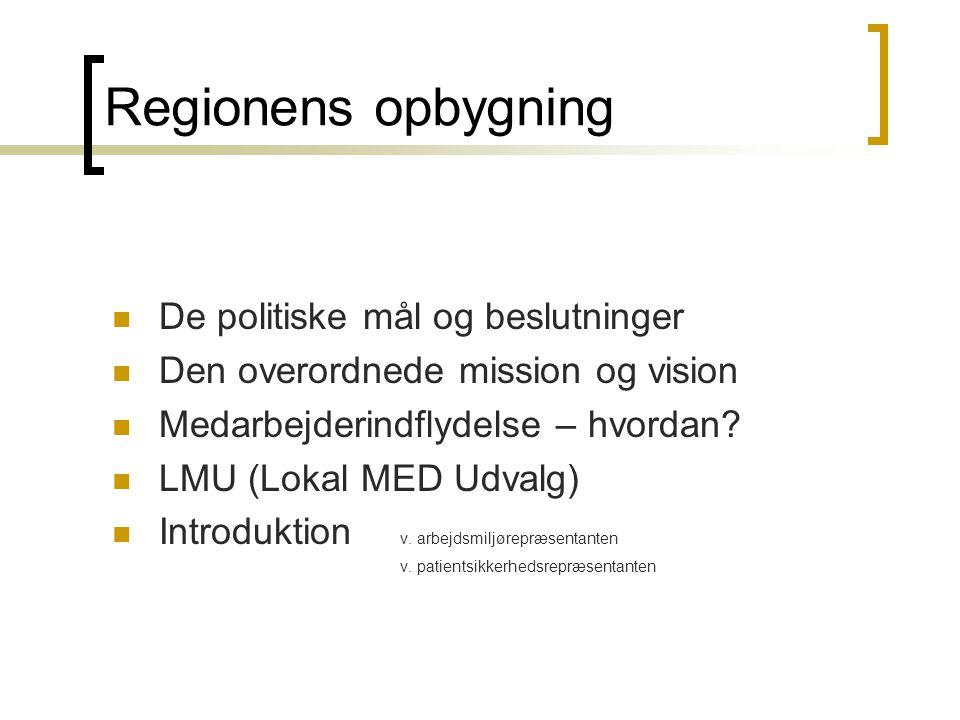 Regionens opbygning  De politiske mål og beslutninger  Den overordnede mission og vision  Medarbejderindflydelse – hvordan?  LMU (Lokal MED Udvalg