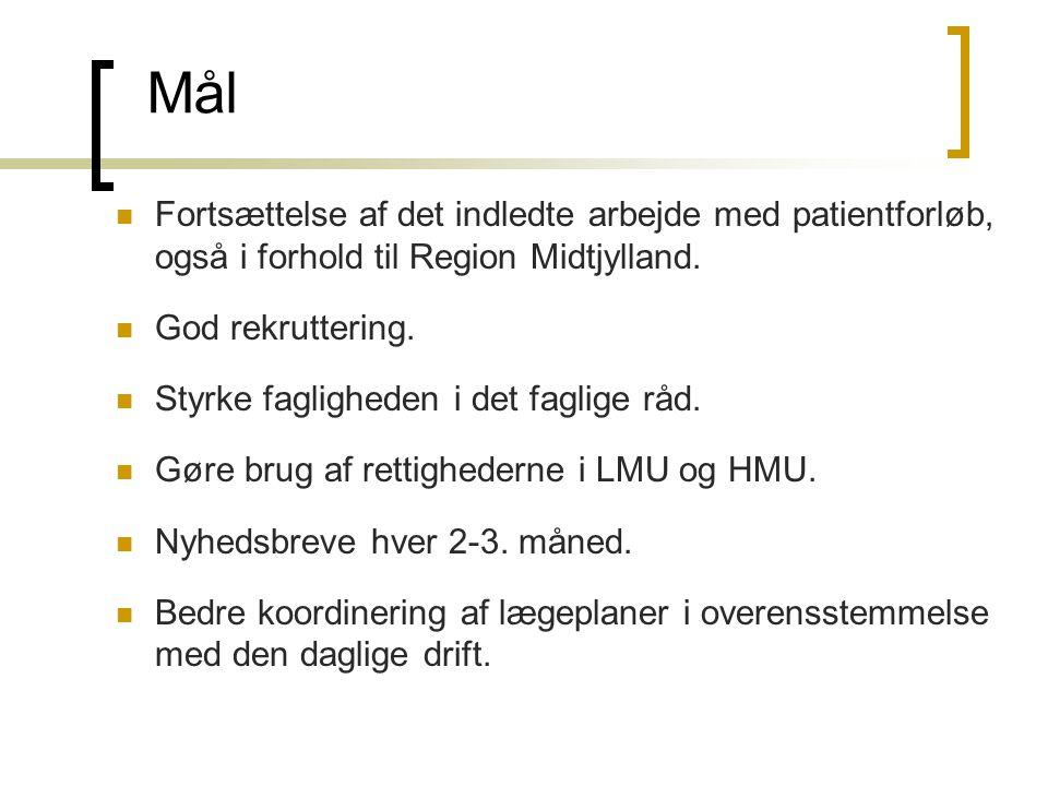 Mål  Fortsættelse af det indledte arbejde med patientforløb, også i forhold til Region Midtjylland.  God rekruttering.  Styrke fagligheden i det fa