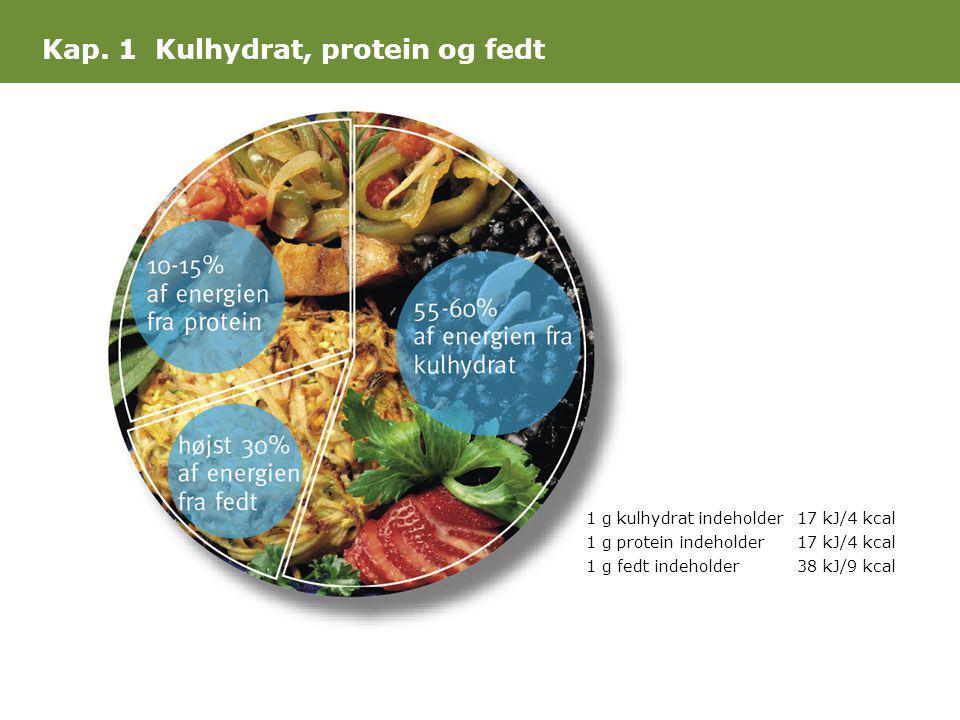 1 g kulhydrat indeholder17 kJ/4 kcal 1 g protein indeholder17 kJ/4 kcal 1 g fedt indeholder38 kJ/9 kcal Kap. 1 Kulhydrat, protein og fedt