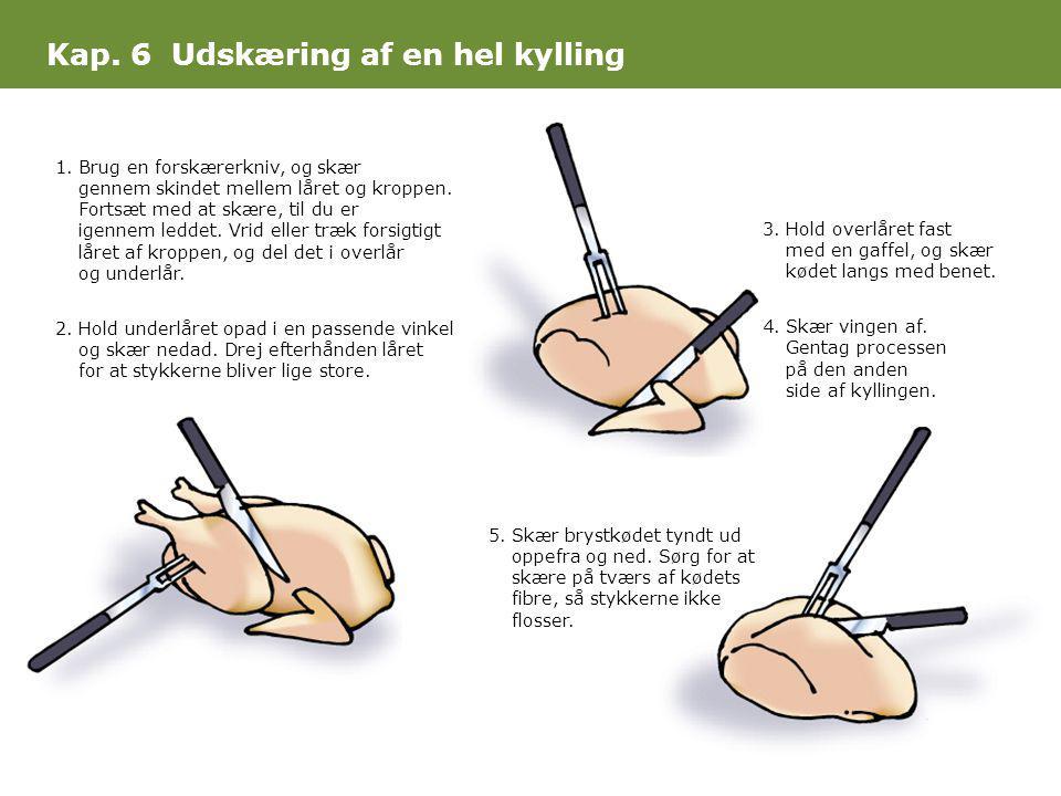 Kap. 6 Udskæring af en hel kylling 1.Brug en forskærerkniv, og skær gennem skindet mellem låret og kroppen. Fortsæt med at skære, til du er igennem le