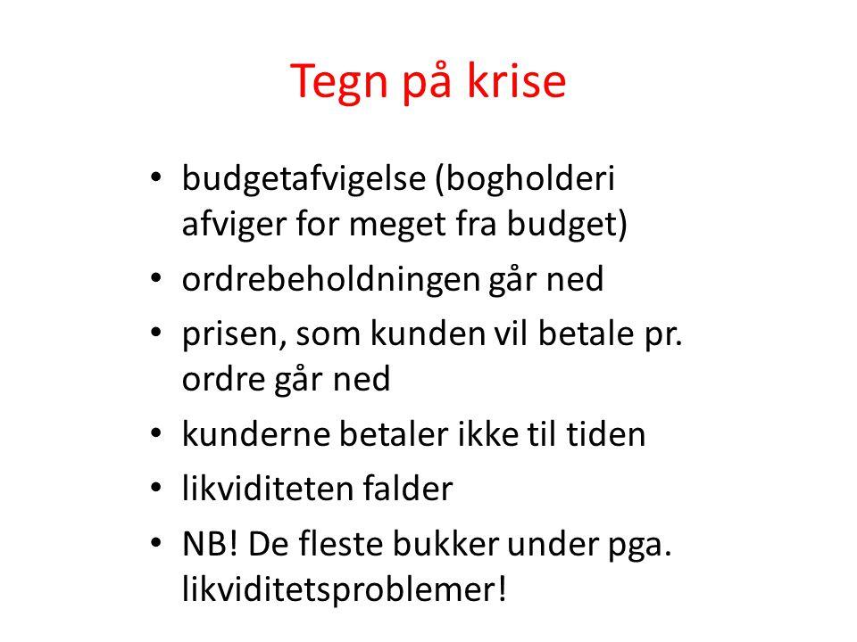 Tegn på krise • budgetafvigelse (bogholderi afviger for meget fra budget) • ordrebeholdningen går ned • prisen, som kunden vil betale pr. ordre går ne