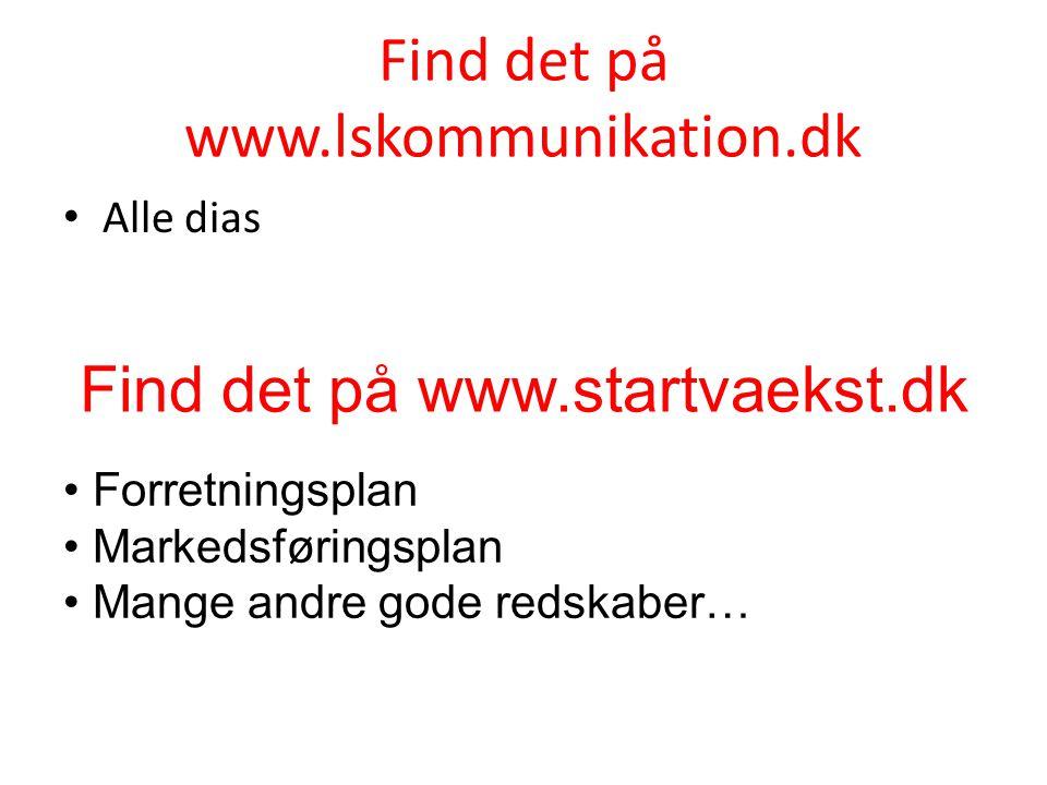 Find det på www.lskommunikation.dk • Alle dias Find det på www.startvaekst.dk • Forretningsplan • Markedsføringsplan • Mange andre gode redskaber…