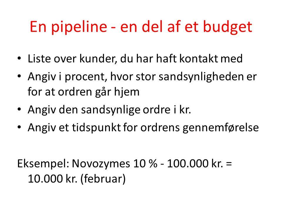 En pipeline - en del af et budget • Liste over kunder, du har haft kontakt med • Angiv i procent, hvor stor sandsynligheden er for at ordren går hjem