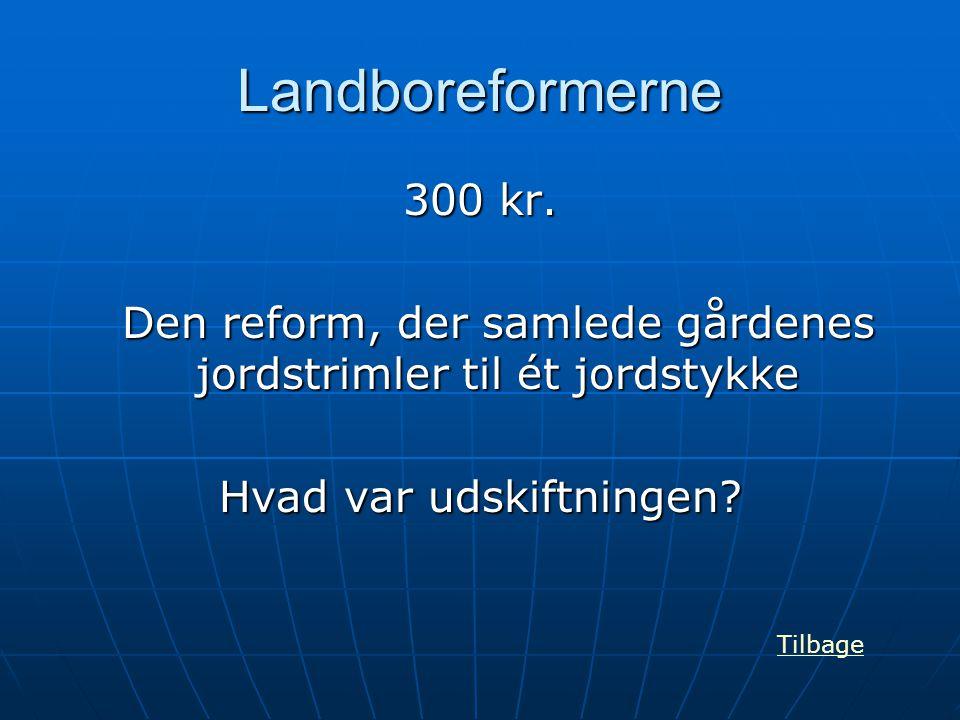 Landboreformerne 300 kr. Den reform, der samlede gårdenes jordstrimler til ét jordstykke Hvad var udskiftningen? Tilbage
