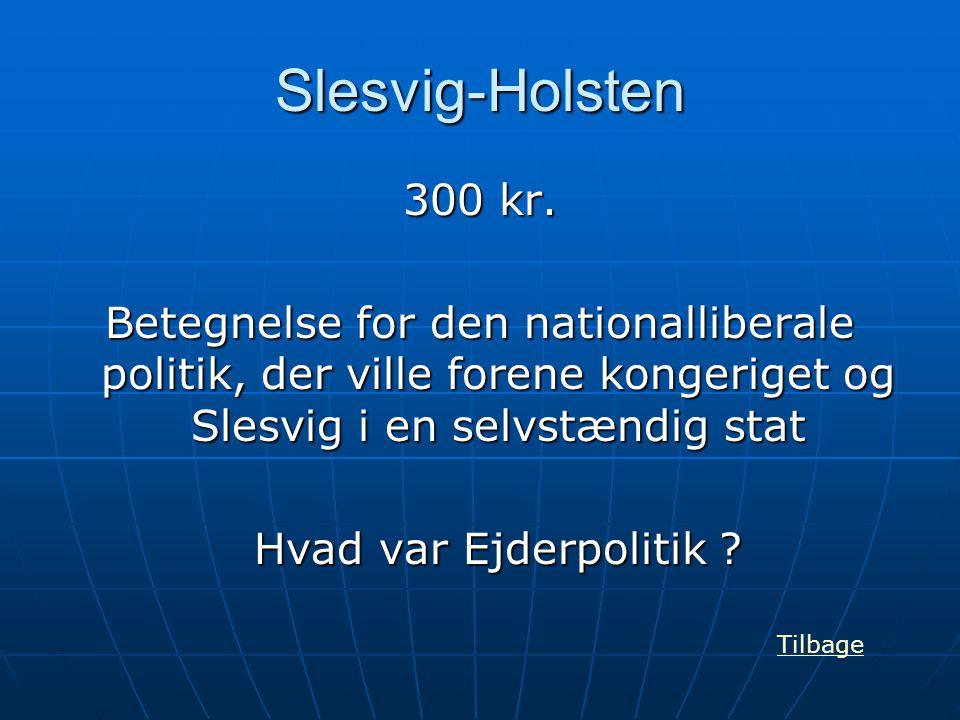Slesvig-Holsten 300 kr. Betegnelse for den nationalliberale politik, der ville forene kongeriget og Slesvig i en selvstændig stat Hvad var Ejderpoliti