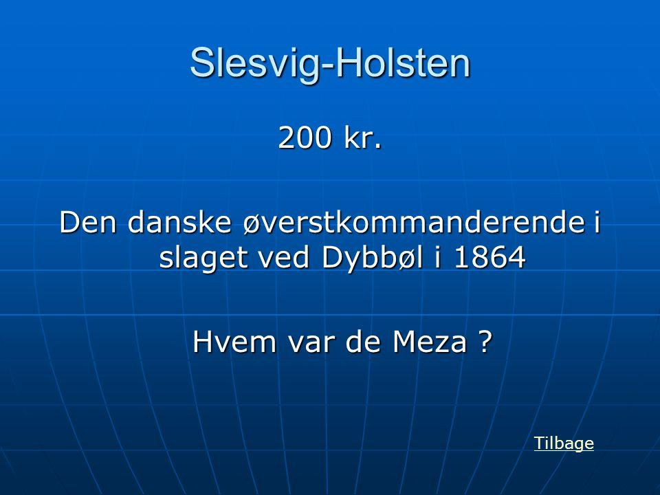 Slesvig-Holsten 200 kr. Den danske øverstkommanderende i slaget ved Dybbøl i 1864 Hvem var de Meza ? Tilbage