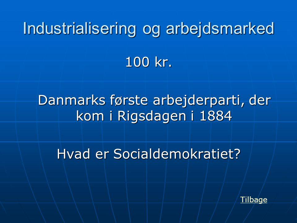 Industrialisering og arbejdsmarked 100 kr. Danmarks første arbejderparti, der kom i Rigsdagen i 1884 Hvad er Socialdemokratiet? Tilbage