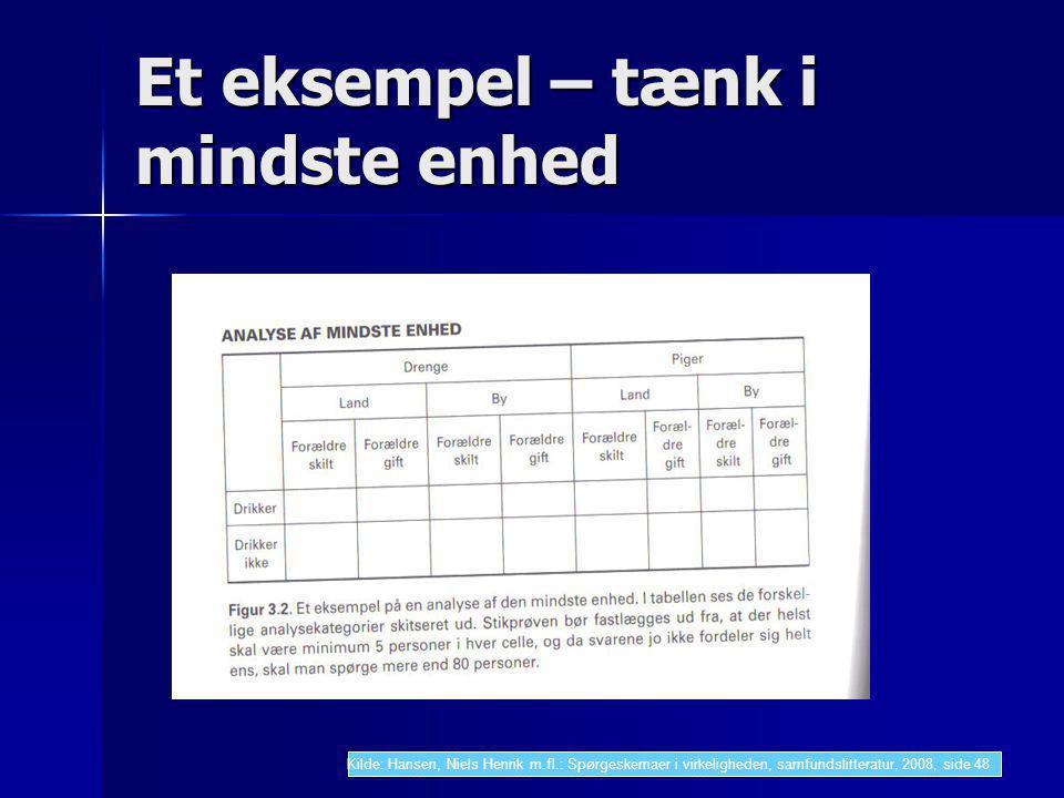 Et eksempel – tænk i mindste enhed Kilde: Hansen, Niels Henrik m.fl.: Spørgeskemaer i virkeligheden, samfundslitteratur, 2008, side 48