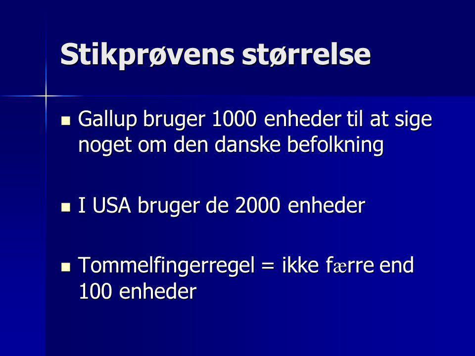 Stikprøvens størrelse  Gallup bruger 1000 enheder til at sige noget om den danske befolkning  I USA bruger de 2000 enheder  Tommelfingerregel = ikk