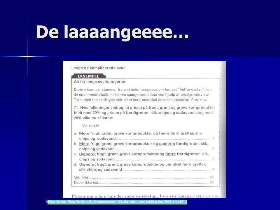 De laaaangeeee… Kilde: Hansen, Niels Henrik m.fl.: Spørgeskemaer i virkeligheden, samfundslitteratur, 2008, side 63