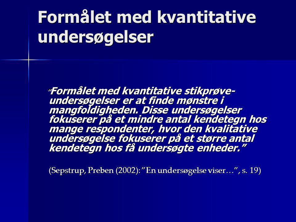 Stikprøvens størrelse  Gallup bruger 1000 enheder til at sige noget om den danske befolkning  I USA bruger de 2000 enheder  Tommelfingerregel = ikke f æ rre end 100 enheder