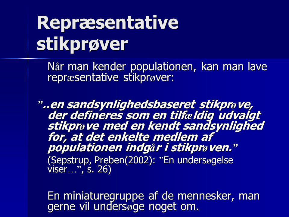 Validitet og repræsentativitet  Repræsentativitet: –Den gruppe, man spørger, skal repræsentere den gruppe, man vil vide noget om Validitet: Kan man tro på svarene.