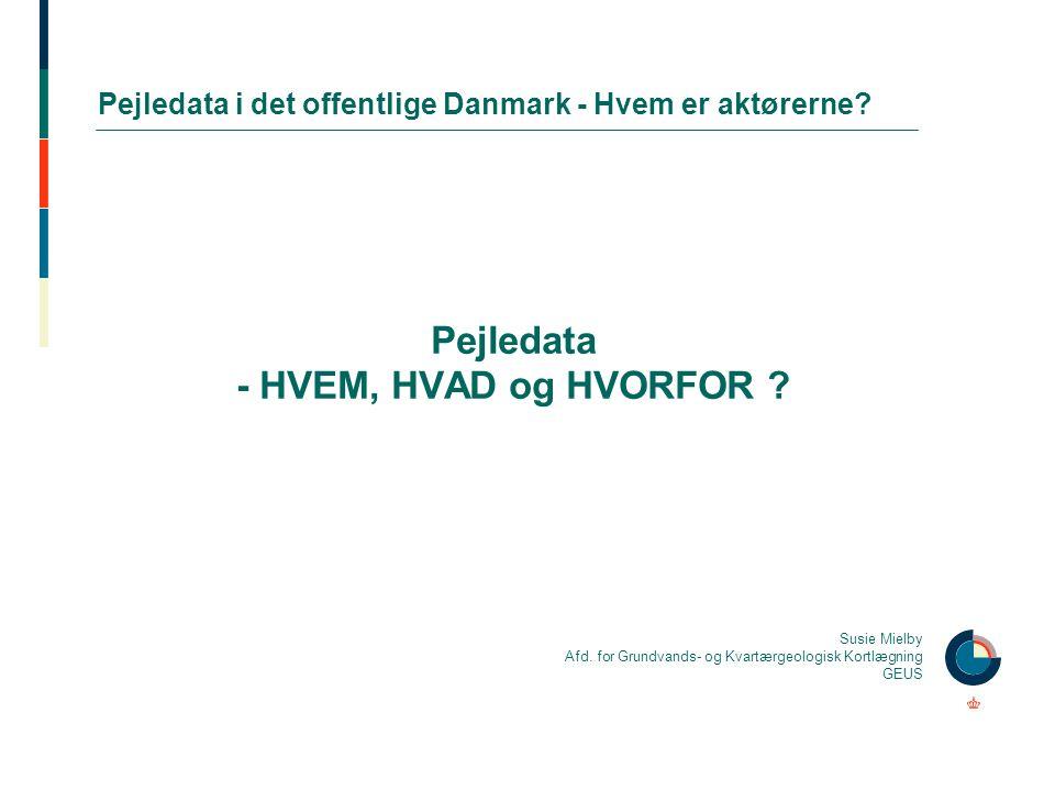 Pejledata i det offentlige Danmark - Hvem er aktørerne? Pejledata - HVEM, HVAD og HVORFOR ? Susie Mielby Afd. for Grundvands- og Kvartærgeologisk Kort