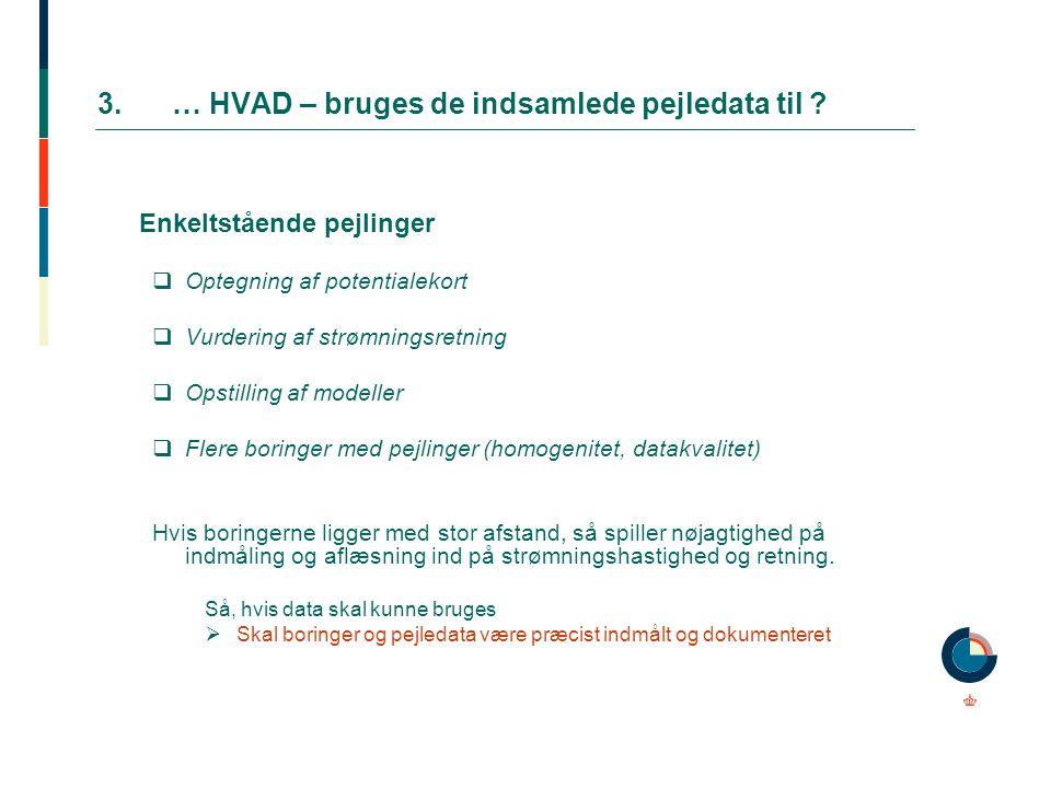 3.… HVAD – bruges de indsamlede pejledata til ? Enkeltstående pejlinger  Optegning af potentialekort  Vurdering af strømningsretning  Opstilling af