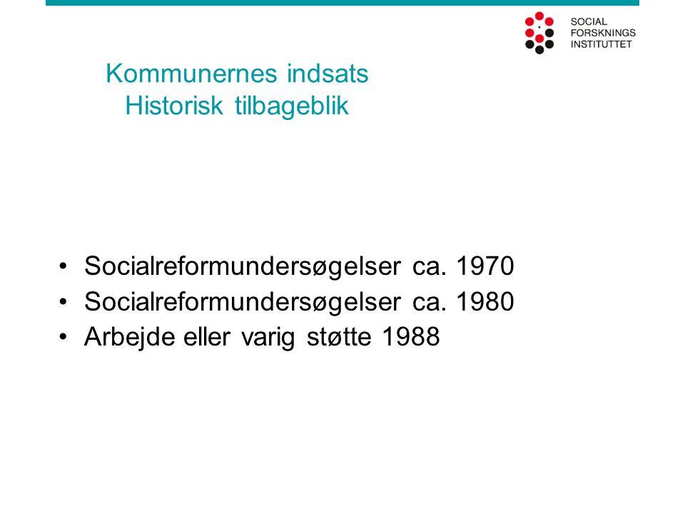 Kommunernes indsats Historisk tilbageblik •Socialreformundersøgelser ca. 1970 •Socialreformundersøgelser ca. 1980 •Arbejde eller varig støtte 1988