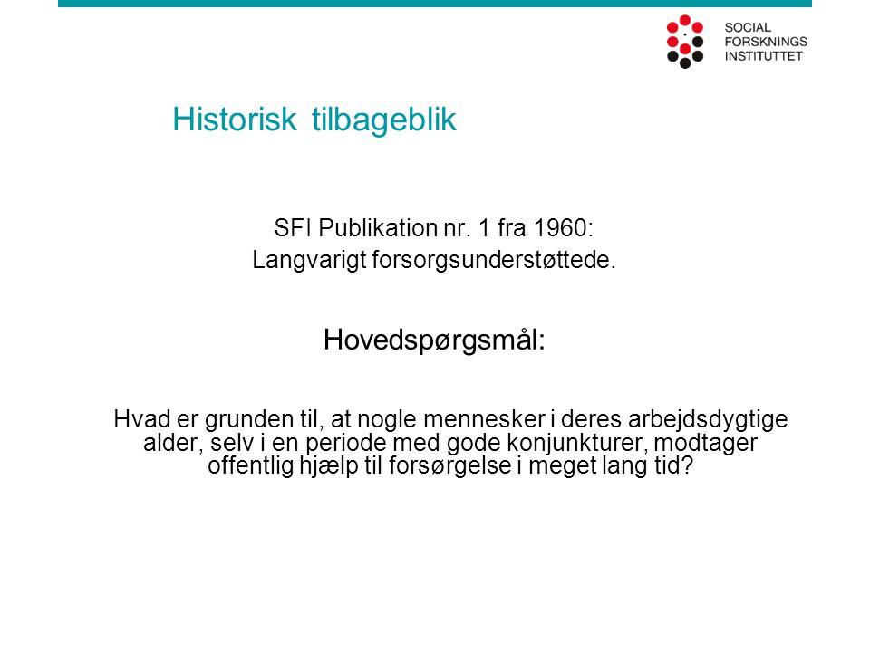Historisk tilbageblik SFI Publikation nr. 1 fra 1960: Langvarigt forsorgsunderstøttede. Hovedspørgsmål: Hvad er grunden til, at nogle mennesker i dere