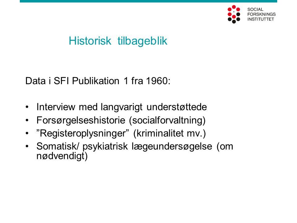 Historisk tilbageblik Data i SFI Publikation 1 fra 1960: •Interview med langvarigt understøttede •Forsørgelseshistorie (socialforvaltning) • Registeroplysninger (kriminalitet mv.) •Somatisk/ psykiatrisk lægeundersøgelse (om nødvendigt)