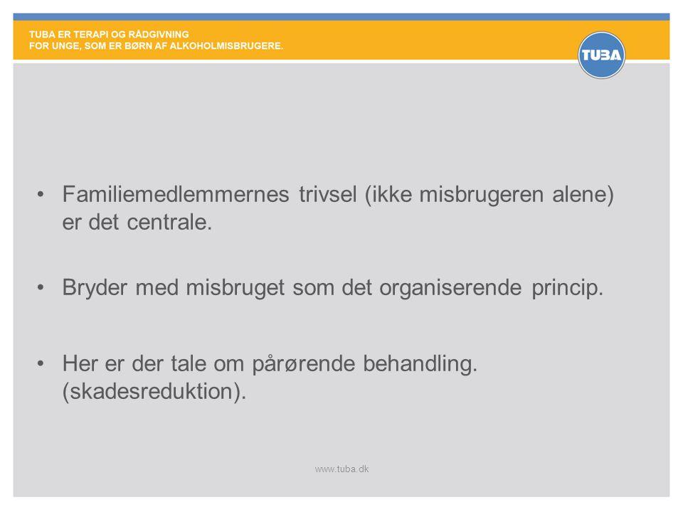 www.tuba.dk •Familiemedlemmernes trivsel (ikke misbrugeren alene) er det centrale. •Bryder med misbruget som det organiserende princip. •Her er der ta