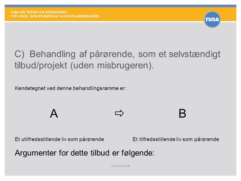 www.tuba.dk C) Behandling af pårørende, som et selvstændigt tilbud/projekt (uden misbrugeren). Kendetegnet ved denne behandlingsramme er: A  B Et uti