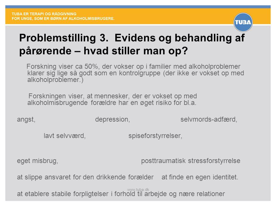 www.tuba.dk Forskning viser ca 50%, der vokser op i familier med alkoholproblemer klarer sig lige så godt som en kontrolgruppe (der ikke er vokset op