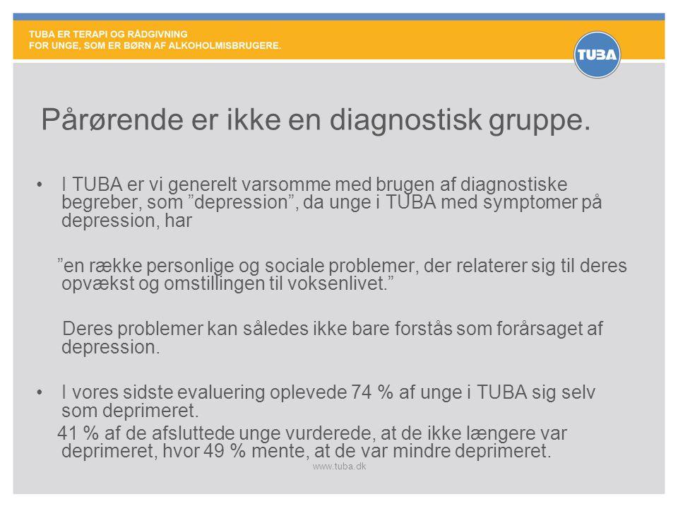 """www.tuba.dk Pårørende er ikke en diagnostisk gruppe. •I TUBA er vi generelt varsomme med brugen af diagnostiske begreber, som """"depression"""", da unge i"""