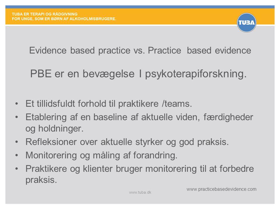 www.tuba.dk Evidence based practice vs. Practice based evidence PBE er en bevægelse I psykoterapiforskning. •Et tillidsfuldt forhold til praktikere /t