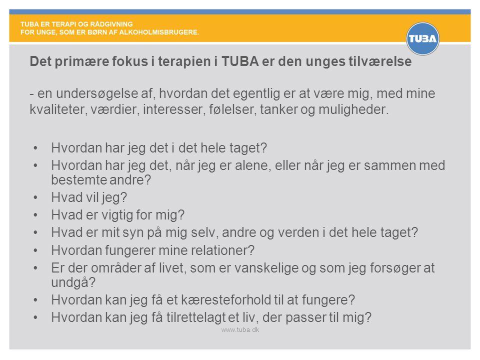 www.tuba.dk Det primære fokus i terapien i TUBA er den unges tilværelse - en undersøgelse af, hvordan det egentlig er at være mig, med mine kvaliteter, værdier, interesser, følelser, tanker og muligheder.